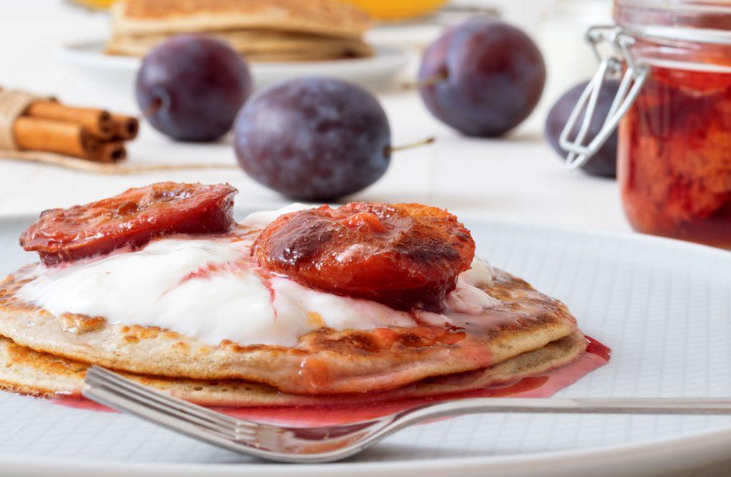 Plum-Compote-Pancakes